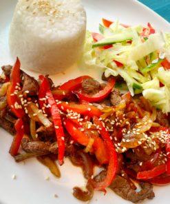 японский рис с говядиной