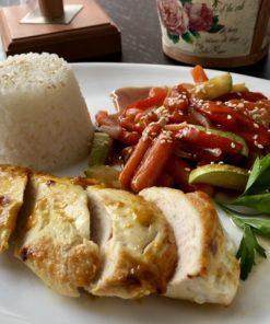 Куриное филе с японский рисом и овощным соте